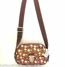 NEW FOSSIL KEY PER RETRO MULTI COLOR COATED CANVAS CROSS BODY,HAND+CAMERA BAG