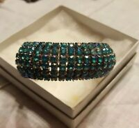 NWT HASKELL ♡ TURQUOISE CRYSTALS ON SILVER STRETCH BRACELET