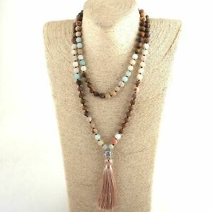 Natural Stone Tassel Yoga Necklace Ethnic Tribal Stones Beaded Necklaces Jewelry