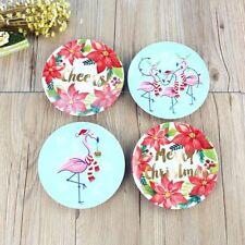4Pcs Dinner Plates Melamine Plastic Cartoon Flamingo Christmas Kitchen Tableware