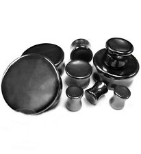 "PAIR-Stone Hematite Concave Double Flare Ear Plugs 19mm/3/4"" Gauge Body Jewelry"