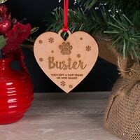 Wooden Personalised Dog, Cat Pet Memorial Christmas Tree Decoration Bauble Gift