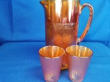 Tree Bark Pattern Marigold Pitcher with 2 matching Juice glasses-Jeannette Glass