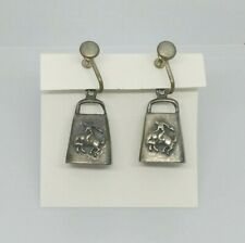 Vintage Cowbell, Cowboy, Steer Earrings, Silver, Old and Unique