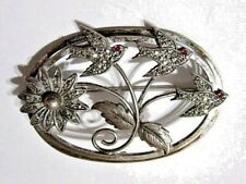 Pin Beautiful Fancy Marcasite Silver Plate Over Copper Birds And Flower Design