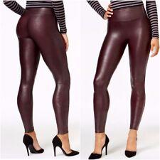 SPANX Women's Ready to Wow Faux Leather Leggings Wine Medium NWT $98