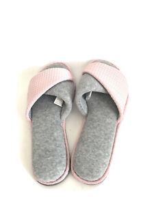 Dearfoams Women's Gray Waffled Pink Peep Toe Overlay Slippers New Open Package