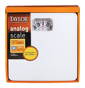 Taylor Scale Basic Analog 300 Pounds Capacity Solid Steel Base White