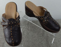 J-41 Adventure On Womens Brown Size 8M Clog Mule Style Torino Leather Slip On