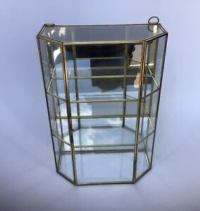 Wall Mounted/tabletop Mirrored Curio Cabinet Brass Framed