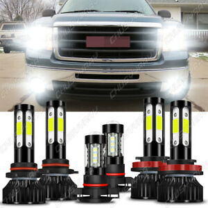 For GMC Sierra 1500 2500 3500 2007-2014 LED Headlights High Low + Fog Light Bulb