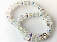 Vintage Glittery Aurora Borealis Faceted Crystal Glass Bead Necklace