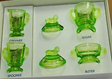 Boyd Glass Child's Lamb Set Tangy Limes (Glows under black light)