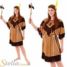Ladies Indian Woman Wild West Cowboy Western Pocahontas Fancy Dress Costume