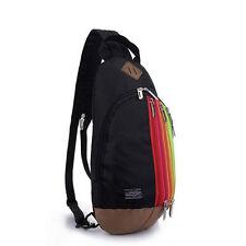 Multifunctional Backpack Rainbow Sling Bag Shoulder Chest Bag Pack Black