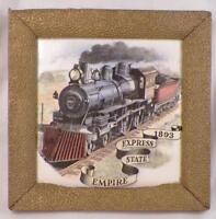 Empire State Express 1893 Tile Locomotive Railroad Ceramic in Antique Frame