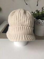 KOOKAI 100% Wool Peaked Knit Hat White Cream Winter Used