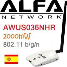 ALFA AWUS036NHR  MIMO ANTENA WIFI USB N 2000mW 2W RTL8188RU NETWORK AWUSO36NHR