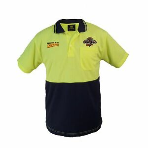 Wests Tigers NRL Short Sleeve HI VIS Polo Work Shirt: Yellow/Navy Tradies