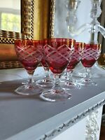 6 Vintage Crystal Cranberry Flash Cut To Clear Sherry Port Glasses Criss Cross