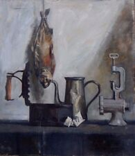 """Unknown Artist  """"Still Life with Fish and Kitchen Tools"""" Russian c1930"""