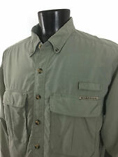 ExOfficio Mens Solid Green 2 Pocket Rear Vented Fishing Shirt - L