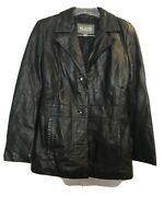 WILSONS LEATHER Women's Black Button Front Coat Jacket Sz Medium M.        T