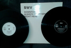 SWV Downtown / Always On My Mind / Right Here 2x12 INCH PROMO UK 1993 RCA DOWN1