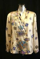 Vintage 80s LOUIS FERAUD Gold Graphic Print SILK Shirt Blouse Gold Buttons L 12