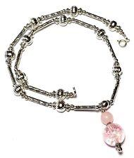 """16"""" Silver Luminous Choker Necklace Pendant Antique Glass & Rose Quartz Bead"""