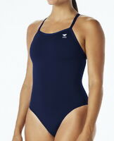 TYR DDUS7A Women's Durafast Elite Diamondfit Swimsuit Solid Navy Size 36