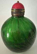 More details for chinese green glass and aventurine ovoid snuff bottle