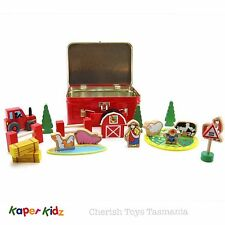 Kids Wooden Toy Farm Yard Animals Play Set In Tin Travel Case Tractor Playset