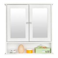 FCH Bathroom Mirror Cabinet Wall Mount Storage Cupboard w/ Doors