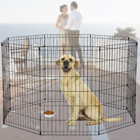 """8 Panels Foldable Dog Playpen Crate Metal Fence Pet Puppy Play Exercise Cage 36"""""""