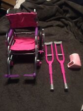 My Life As All American Girl Doll Wheelchair Crutches and Cast Set Pink Purple