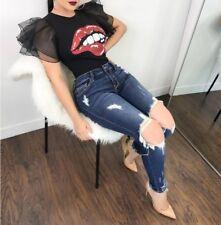 Lady Big Red Lips Pattern  Casual Street wear Short Petal Ruffles Sleeve Top #T