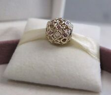 New w/HINGED BOX Pandora 14K Gold & Pink Topaz Celtic Circles Charm 750811TPK