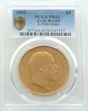More details for 1902 king edward vii £5 pound sovereign gold matte proof coin pcgs pr62