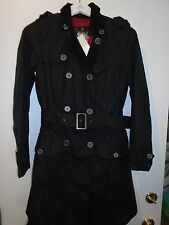 Barbour Waxed Cotton Pacific Trench Coat NWT size 4 $499 Navy with Union Jack