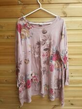 Ladies Pink Floral Long Floaty Long Sleeve Top Size 20-22 by Stock Shop
