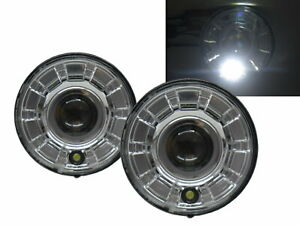 H1/H2 2003-2009 Truck LED Halo Projector Headlight Chrome for HUMMER RHD