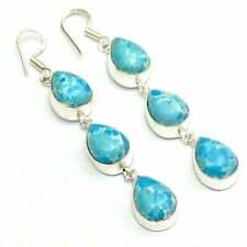 "Earring 3"" Jg160Cs Larimar Gemstone Handmade Jewelry"