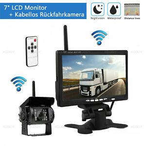 "Funk Kabellos Rückseiten Kamera + 7"" LCD Monitor Rückfahrkamera Set Bus LKW HD"