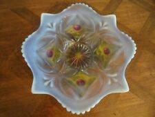 DUGAN Opalescent Wheel and Block Red Gold White Goofus Glass