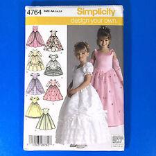 Simplicity 4764 Girls Dress Pattern 3 4 5 6  Flower Girl Princess Pageant UC