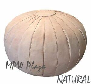 MPW Plaza Pouf, Deco, Natural, Moroccan Leather Ottoman (Un-Stuffed)
