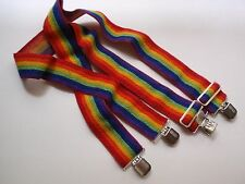 Vintage Elastic Stretch Rainbow Striped Suspenders Unisex Clip On LGBT Pride