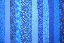 BLUE PRINTS 100% cotton Prewashed Quilt Fabric Strips Jelly Roll Quilts #C/54