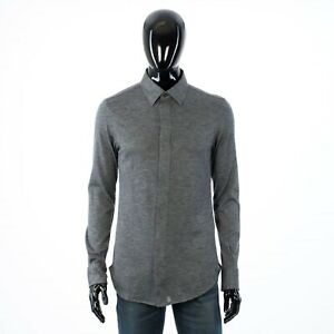 BRIONI 2100$ Gray Hand Tailored Cashmere Slim Fit Shirt